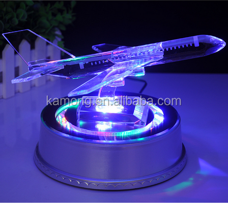 whosale-crystal airplane model for office desktop decoration with LED light