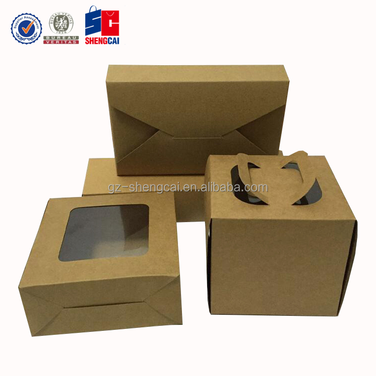 Wholesale Kraft Paper Bakery Cake Cookies packing Box with PVC window