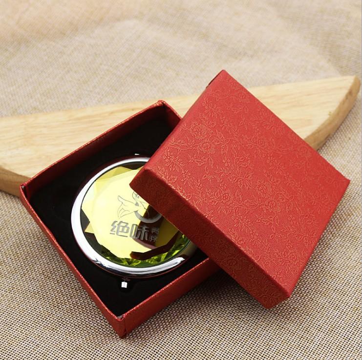 Алмазная форма Хрустальное карманное зеркало Подарочная коробка Пользовательский логотип коробка для компактного зеркала