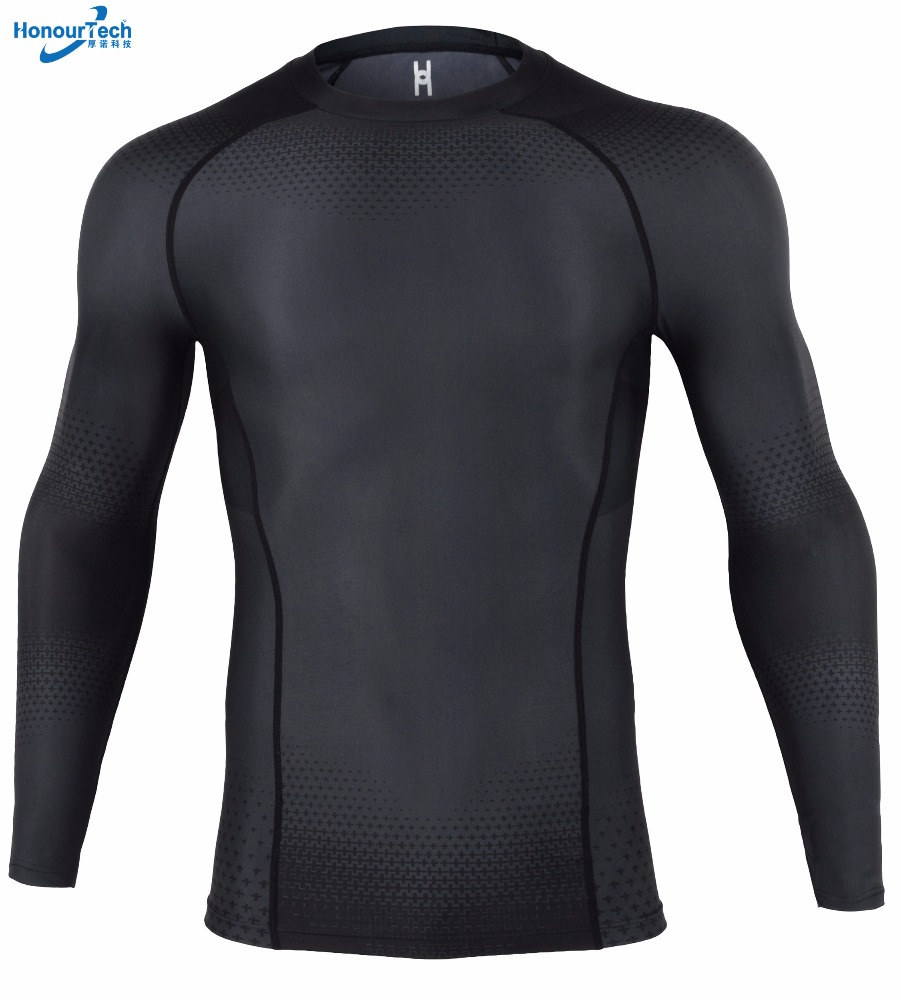 Wholesale Fitness Jumpsuit Sexy Mens Elastic Compression Tights Long Sleeve Shirt