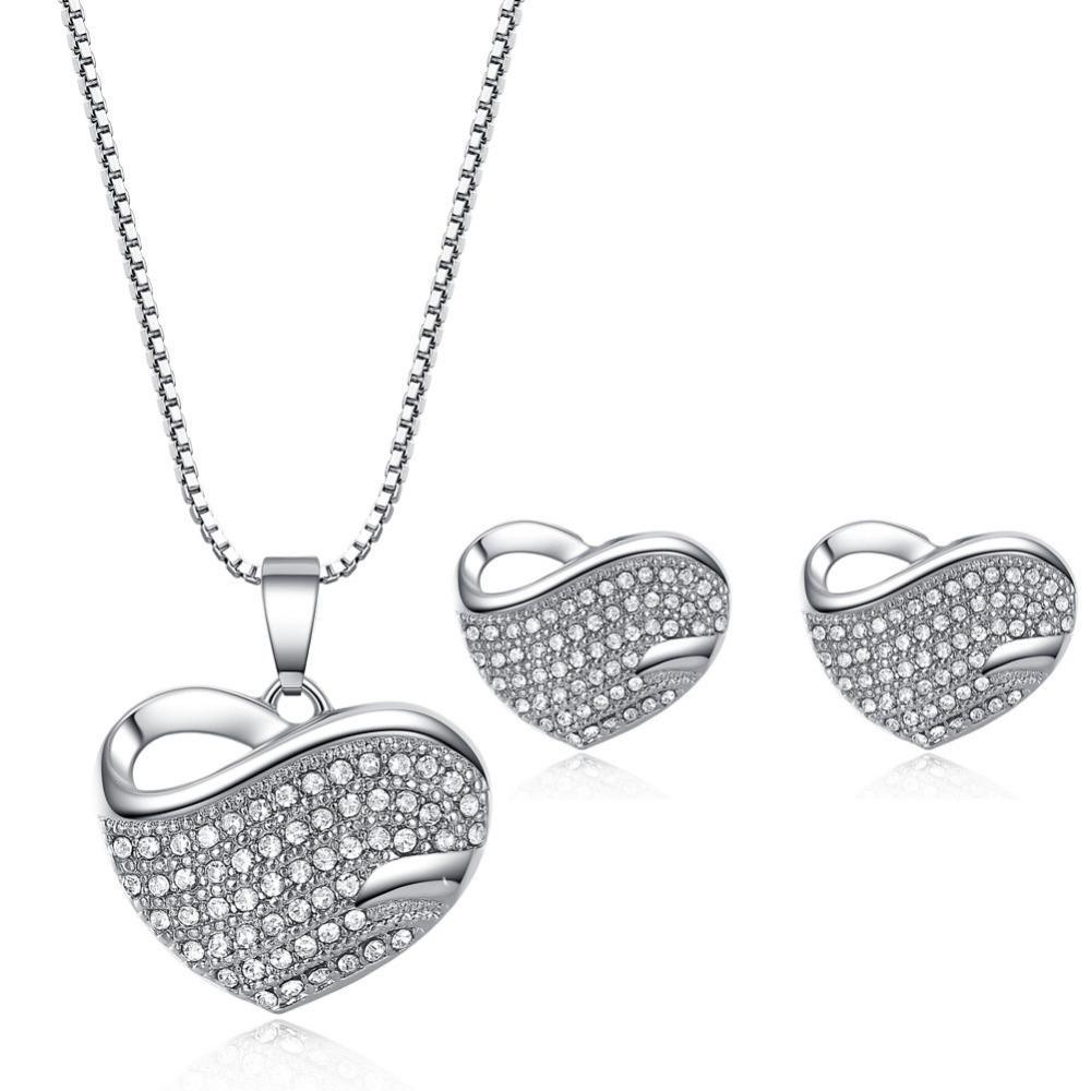 Полный кристалл в форме сердца ожерелье серьги набор 18K Свадебные украшения набор