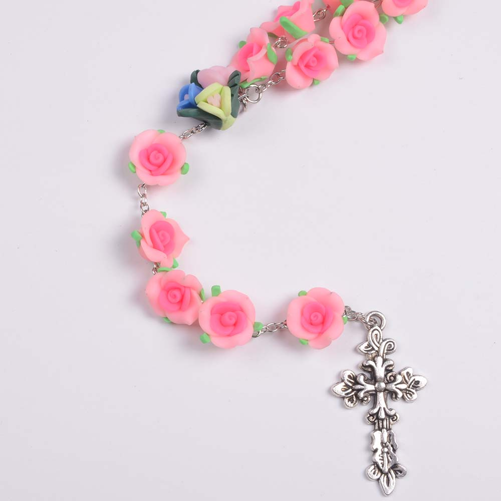 1.7CM Big Polymer Clay Flower Bead Rosaries Rose Beads Rosary Necklace