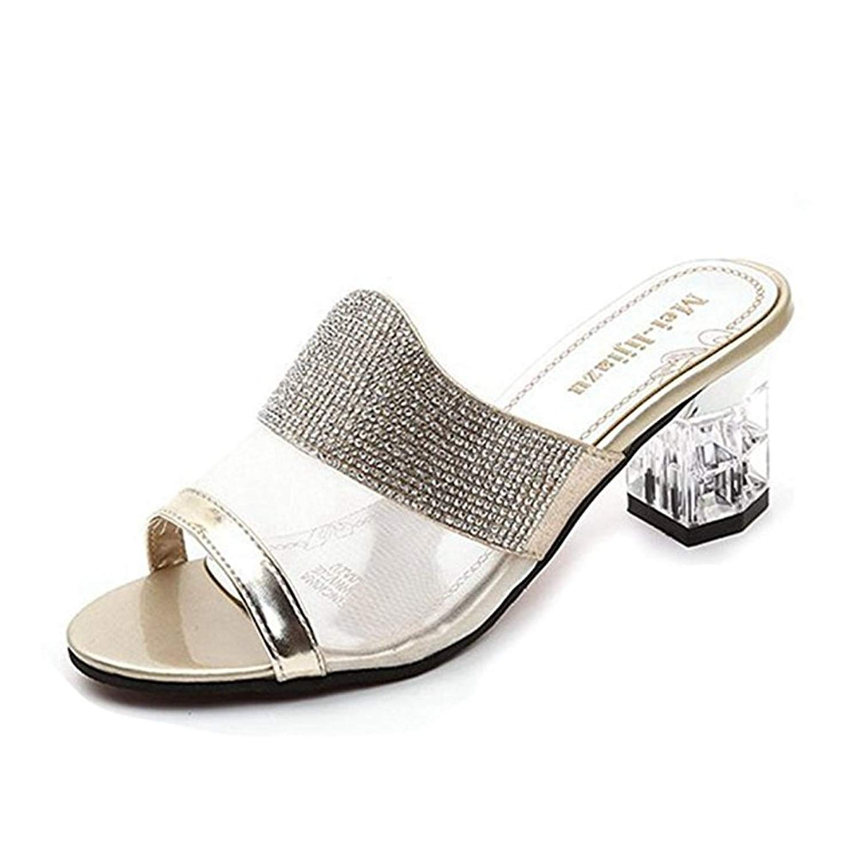 4b0b169fd73d Get Quotations · Womens Wedge Sparkle Glitter Beads Heels Walking Sandals  Platform Chunky Heels Peep Toe Slip on Dress