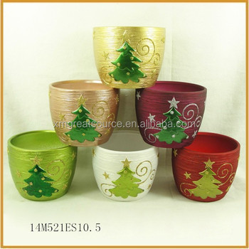 fine ceramic plant flower pots with christmas tree decorative