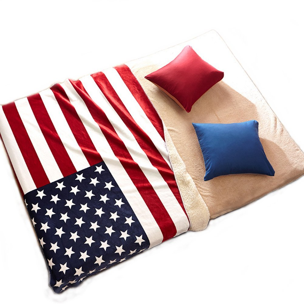 "Echolife Plush Fleece Throw Blanket USA Flag Sherpa Blanket 51"" x 63"" for Sofa, Couch or Living Room (USA Flag)"
