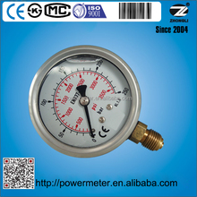 250 bar and 3500 psi glycerine oil filled 63mm dual scale pressure gauge
