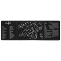 "AR15 AK47 Remington 870 Cleaning Rubber Mat 36""x12"" Gunsmith Armorer with Parts Diagram and Instructions Mouse Pad Mat"