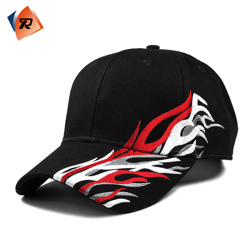 Wholesale Custom Logo 6 Panel Racing Embroidered Flames Brim Baseball Cap Hat