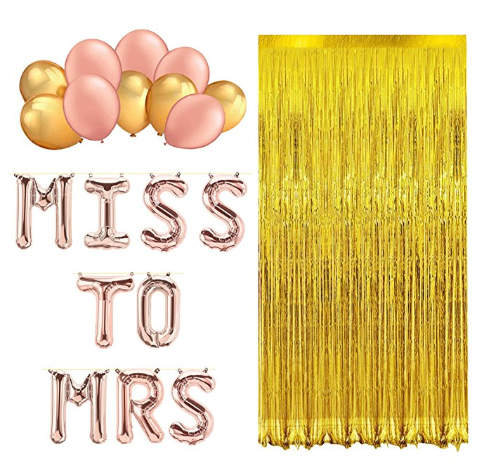 16 Inch Miss to Mrs ,2M Gold Foil Curtain and Latex Balloons Miss to Mrs Bachelorette Party Decoration & Bridal Shower kit