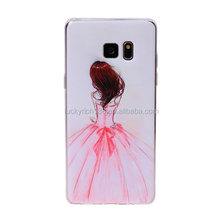 Newest! Pink princess dress TPU cell phone case for Iphone 5G,5S,5SE,6,6+,7,7+,note 7