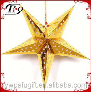 party hanging decoration gold five point paper lantern