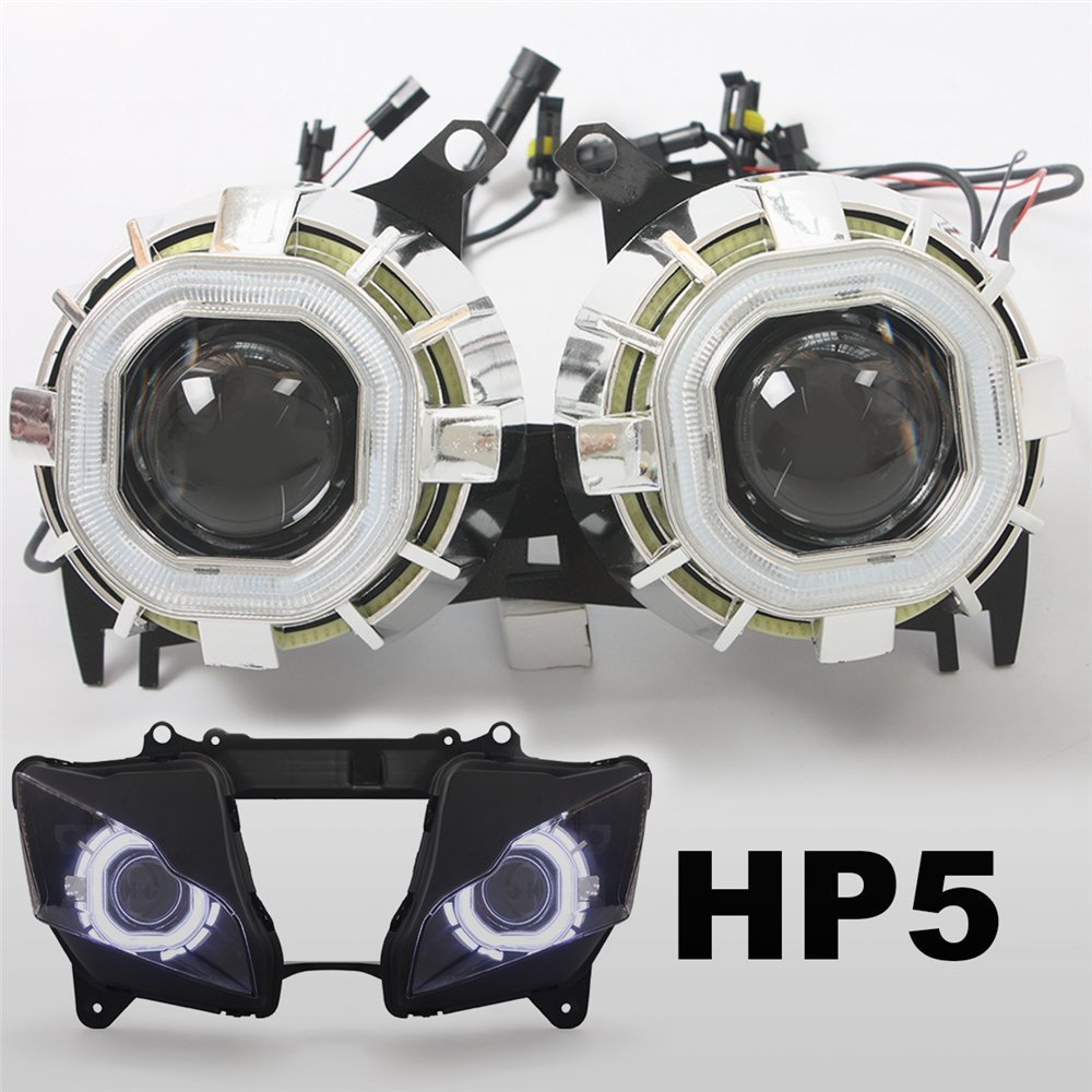 KT Tailor-Made HID Projector Kit HP5 for Kawasaki ZX-10R 2011-2015 V1 Square White Angel Eye