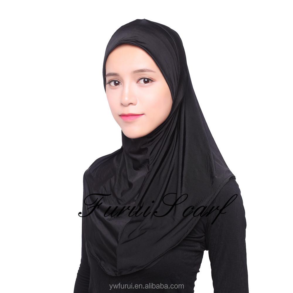 Musulman Nouveau Style Glace Soie Tissu Doux Islamique Hijab Mix Couleurs  Grande Taille Mode Foulards Châles