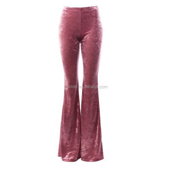Wholesale Fashion palazzo pants dance Cowgirl Spring Summer Crushed Velvet Retro Vintage Classic Bell Bottoms