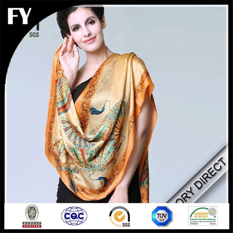 Hot factory direct custom digital printed silk scarves shawls