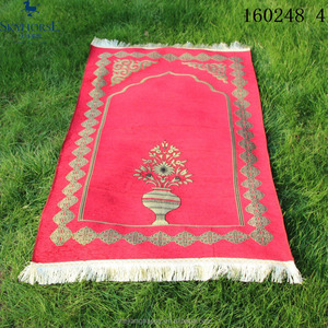 Portable travel use heavy chenille muslin prayer mat