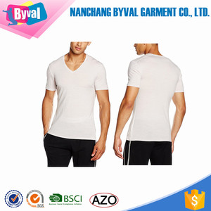 Super Soft Slim Fit Mens Short Sleeve White T-Shirt Lycra Tee Fits All Occasion V Undershirt Manufacture Accept Logo Custom
