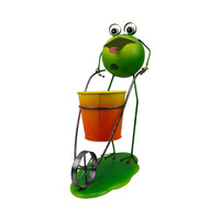 Hot Selling Custom Design Garden Decorative Ornament Metal Tongue Frog Cart Shape Flower Pot