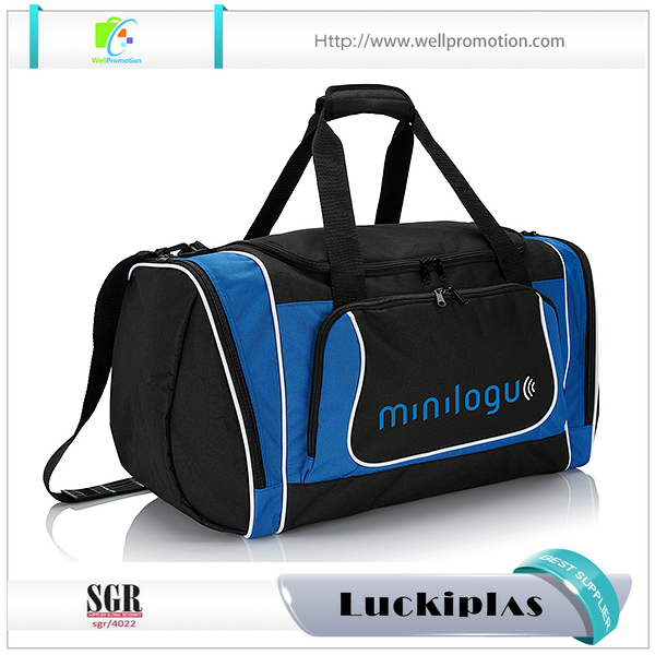 Portable high quality Polyester women work gym duffle bag with shoes compartment