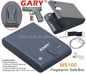 Wholesale- MS100 Biometric Fingerprint portable pistol Car Gun Safe Box