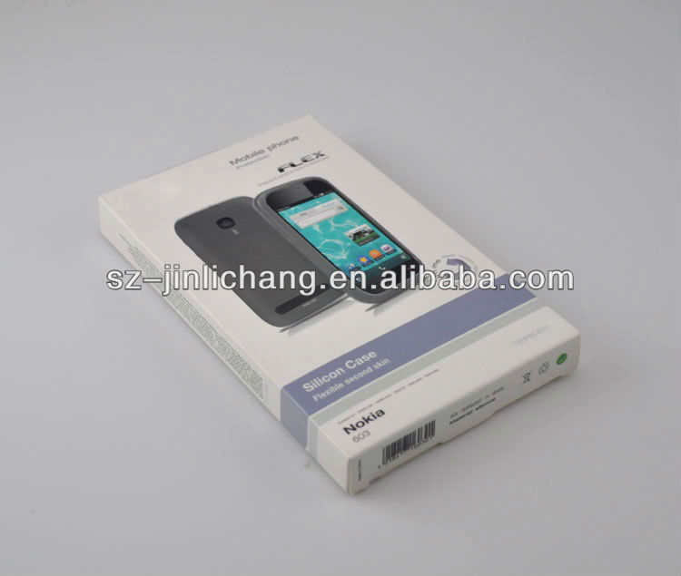 plastic clamshell with glossy cardboard window box packaging for phone case