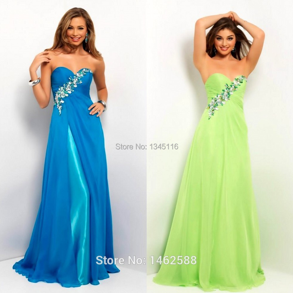 Turquoise Green Chiffon Long Slit Prom Dress With Beaded ...