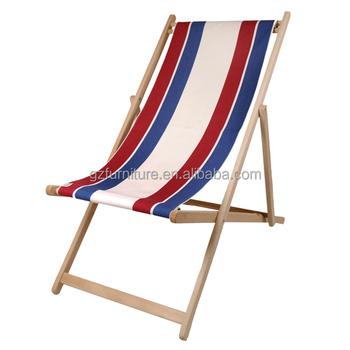 Tela Per Sedie A Sdraio.Vintage Legno E Tela Pieghevole Spiaggia Sedia A Sdraio Buy Sedia
