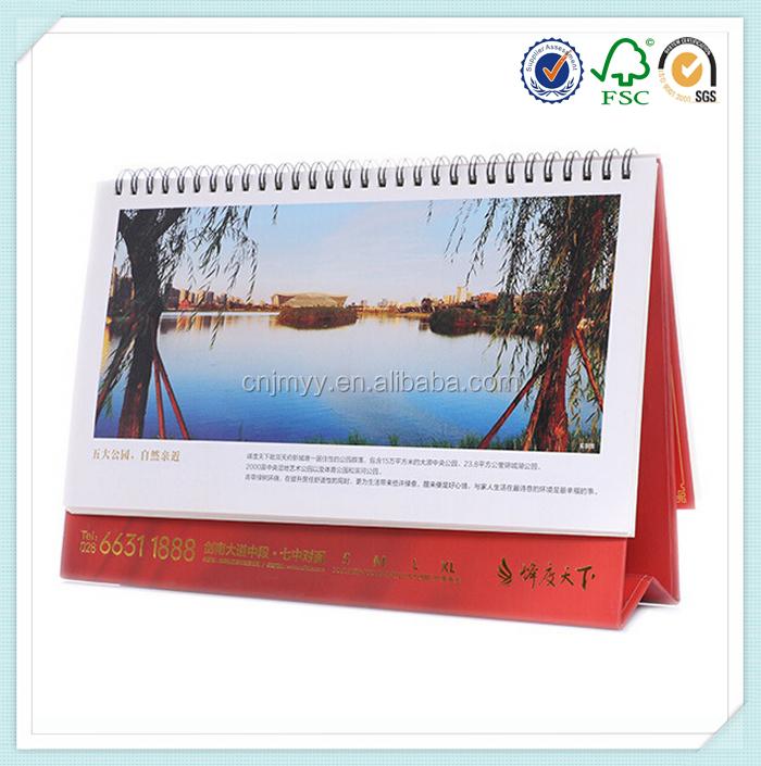 2016 Advertising Spiral Binding Standing Table Calendar