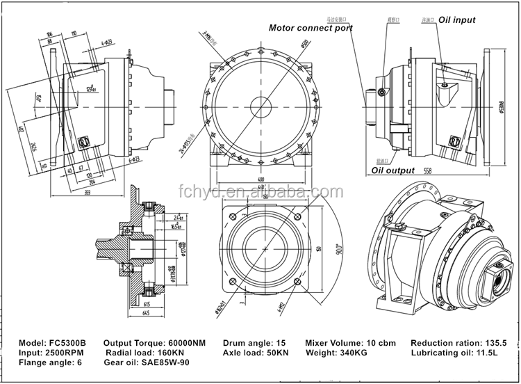 transit mixer drive  gearbox for 12 m3 concrete mixer  truck mixer gearbox made in china