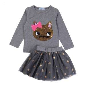 2Pcs Girls Boutique Clothing Fall Long Sleeve Girls Shirt Sequins Cat Print Fashion Tutu Skirt with bow Kids Girls Clothing Set