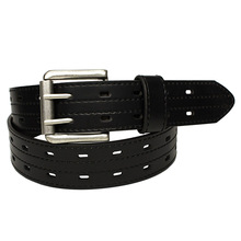 New Good Design Wide Men Genuine Leather Double Pin Buckle Belt