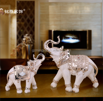 wholesales resin craft home decoration silver plated resin elephant