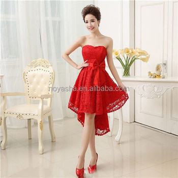 Strapless Short Tail Dress Red Lace Wedding Dresses Made In China