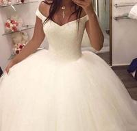 ZH3117G Vestido de noiva Ball Gown Off The Shoulder Sleeveless Plus Size Wedding Dress With Beading Sweep Train Bridal Gowns