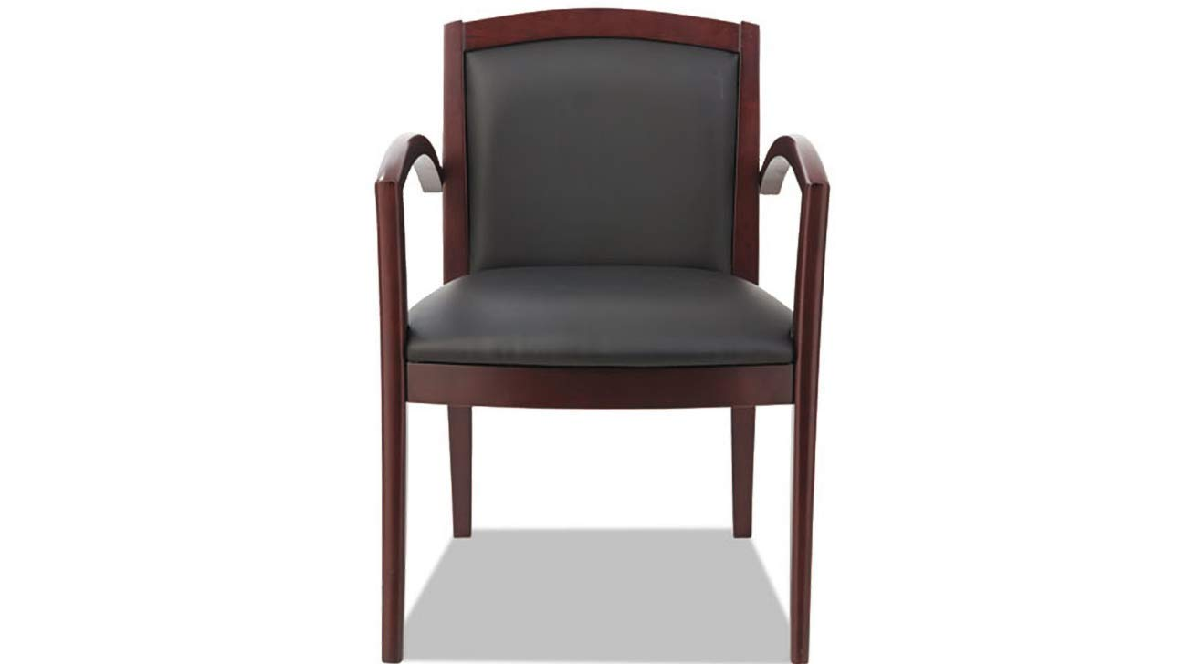 Arch Solid Wood Chair Alera Reception Lounge 500 Series Mahogany/Black Leather K&A Company