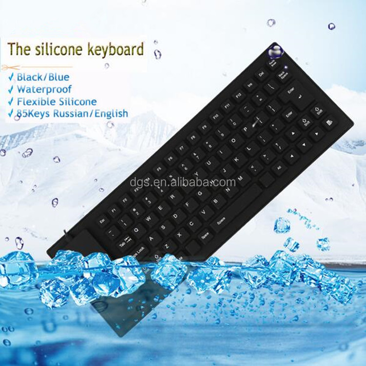 New black/Blue 85 Keys Waterproof folding Portable Soft Flexible Silicone Keyboard for Laptop Computer Peripherals
