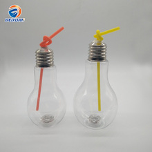 500ml/600ml/700ml wide mouth 7 colors LED Light flash bulb shaped plastic bottles