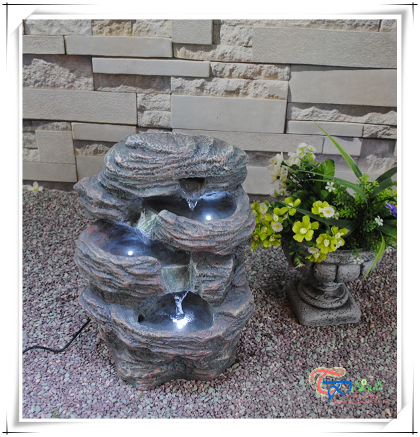Resin Mini Indoor Artificial Waterfall Tabletop Water Fountain ...