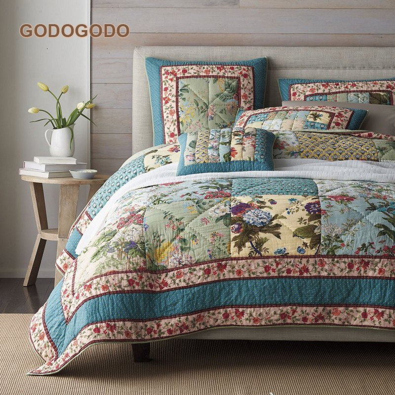 Atacado Bordado Colcha Sólida Do Vintage 100% Algodão Patchwork Quilts Patch Bedding sets / Sham
