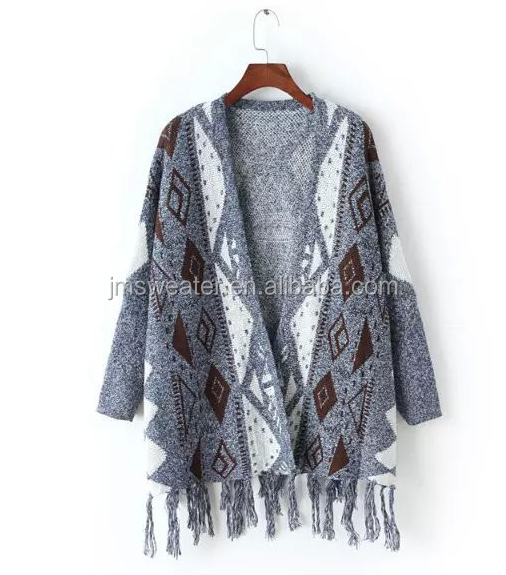 Winter fashion jacquard cable knitted poncho sweater for women