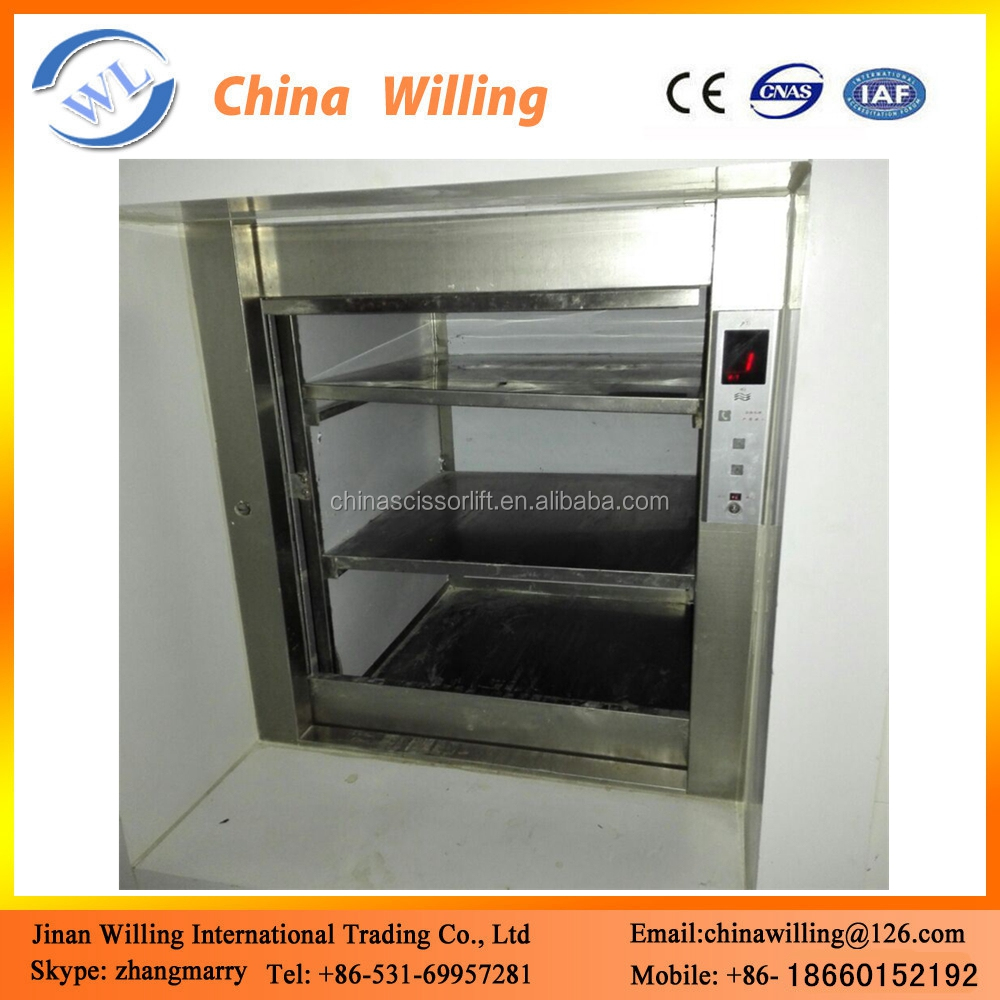 Stainless Steel Dumbwaiter Food/Meal Small Elevator Lift for Hotels
