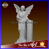 Hand Carved Garden Angel Statue with Column