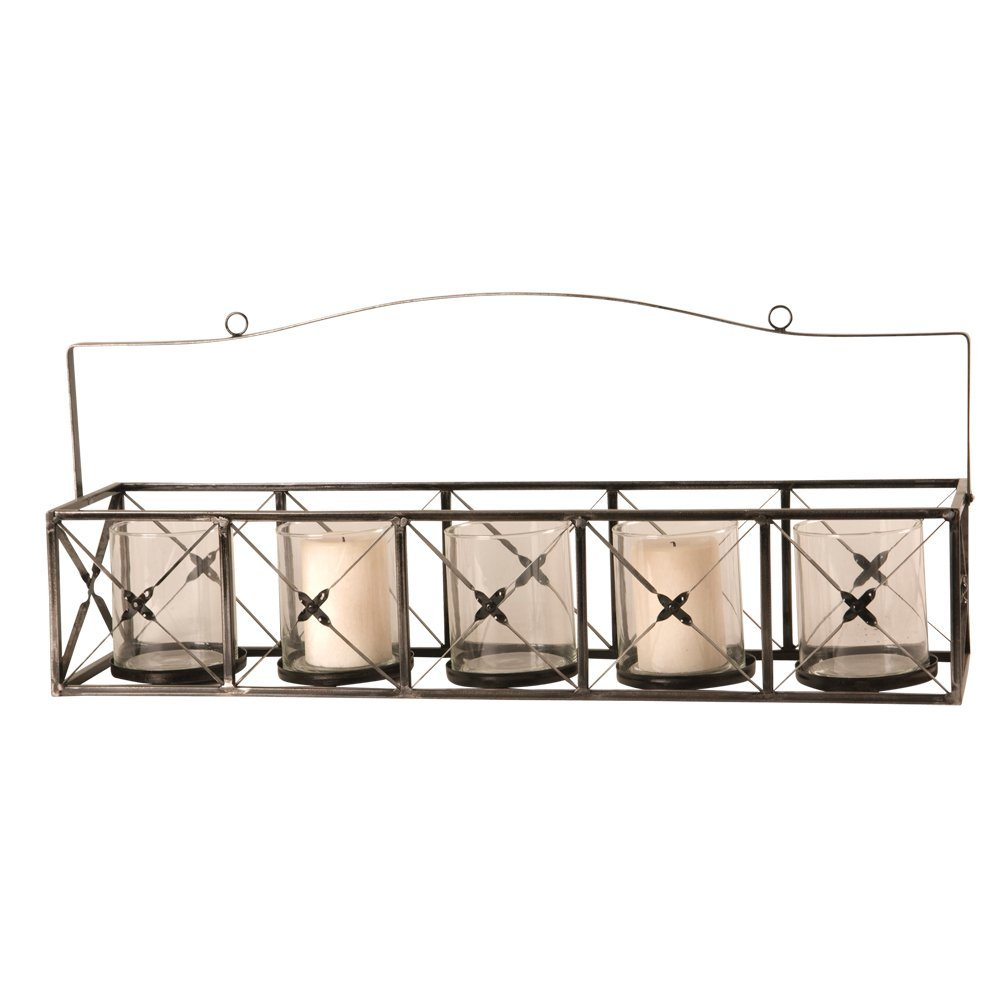 Metal Candle Holder with Five Glass Votive Cups 28-1/2-Inch by 6-1/2-Inch by 5-3/4-Inch with a 12-Inch handle Height