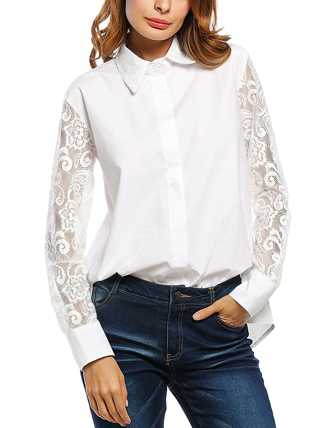 Zeagoo Women's Casual Long Sleeve Hollow Floral Lace Patchwork Button Down Blouse Shirt Tops