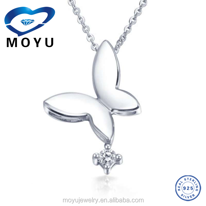 summer jewelry 18K white gold plated butterfly silver pendant on sale
