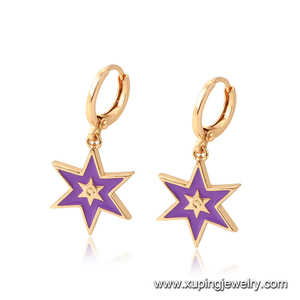 96937 Xuping fashion women jewelry cute style six horns shaped gold plated drop earring