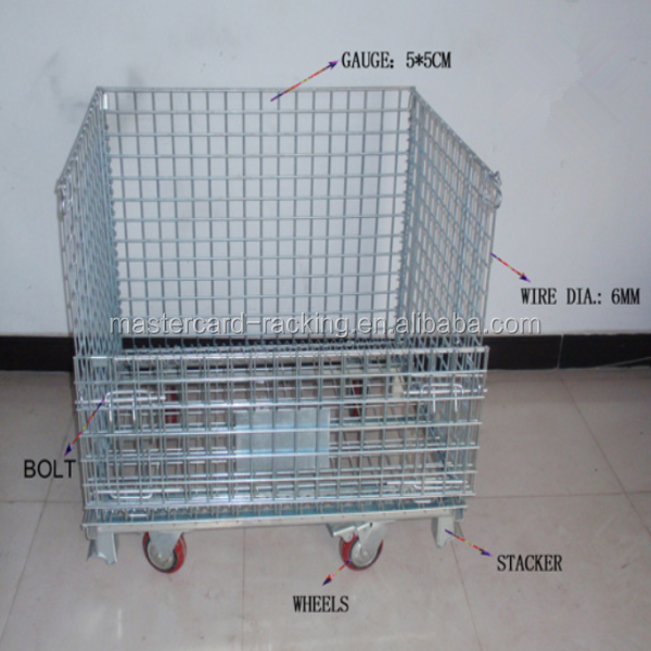 Lockable Logistic Folding wire mesh rolling steel storage cage