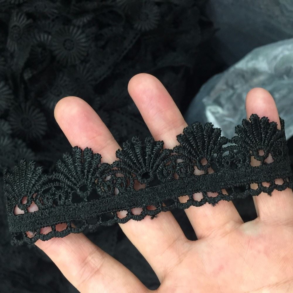 White and black Venise Lace trim wedding DIY crafted sewing polyester lacetrim 3cm