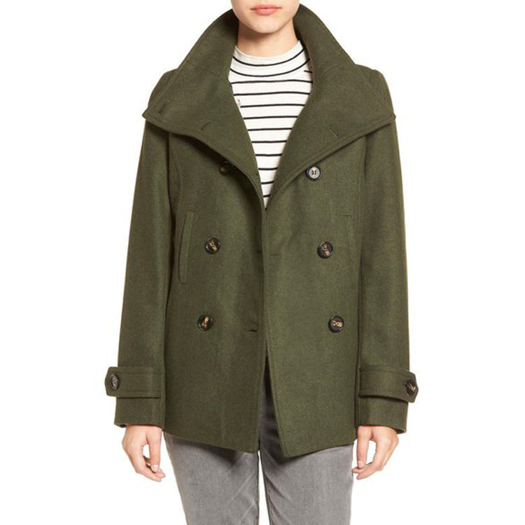 Latest Coat Designs For Women Custom Wholesale Clothing Manufacturers Green Casual Winter Peacoat
