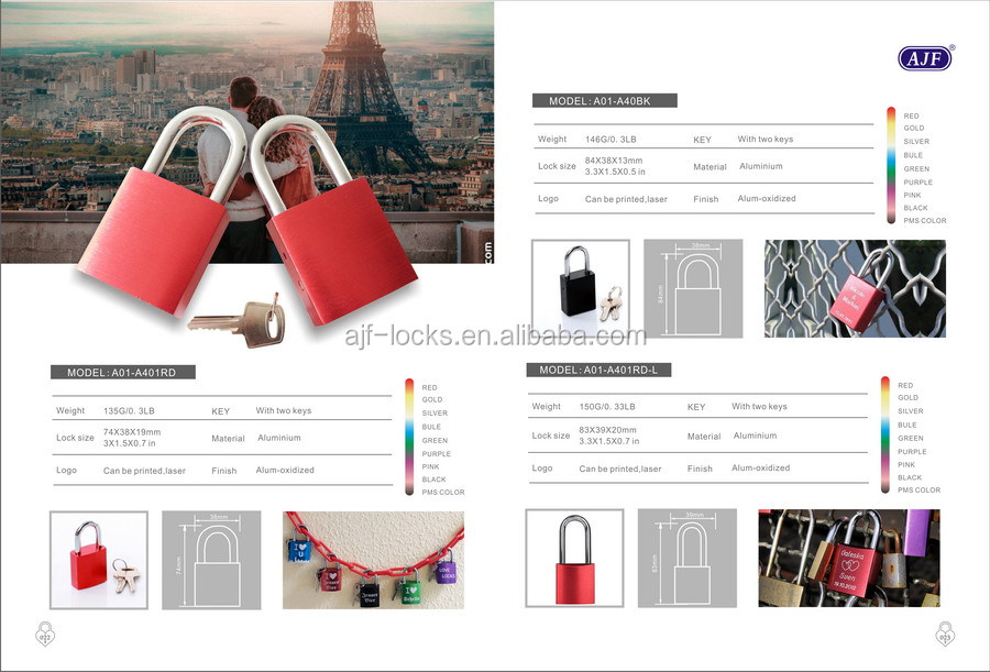 AJF TUV, RoHs , EN-73 TEST PASSED Top quality and hot sale high polished colorful valentine's gift heart shape Love lock